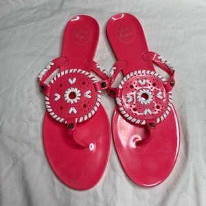 Jack Rogers Georgica Bright Pink Jelly Sandals 11